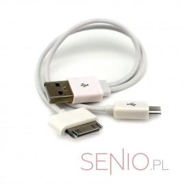 Przejściówka – adapter: wtyk USB do micro-USB + iPad 1, 2, 3