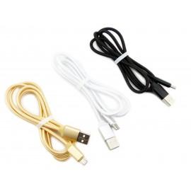 Kabel z oplotem: wtyk USB 2.0 - wtyk micro USB-C - wysoka jakość - kolory