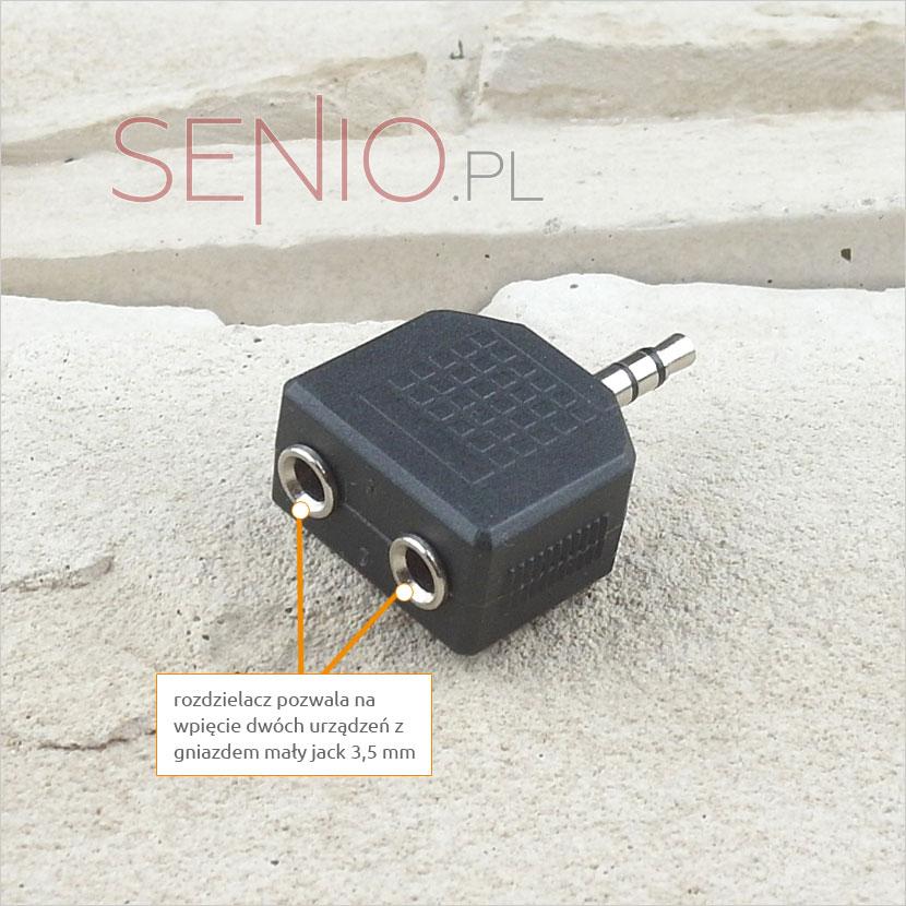 Rozgałęźnik rozdzielacz pozwala na podpięcie dwóch kabli z wtykiem mały jack 3,5 mm
