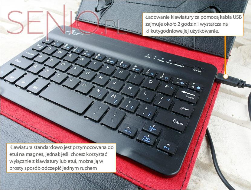 Ładowanie klawiatury bluetooth w etui zajmuje krótki czas