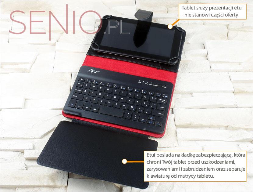 Etui na tablet posiada nakładkę zabezpieczającą, która chroni przez zniszczeniem
