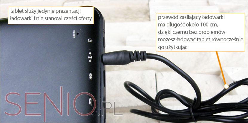 Ładowarka sieciowa z kablem do tabletu 5V 2A (2000mA) – wtyk 2,5mm