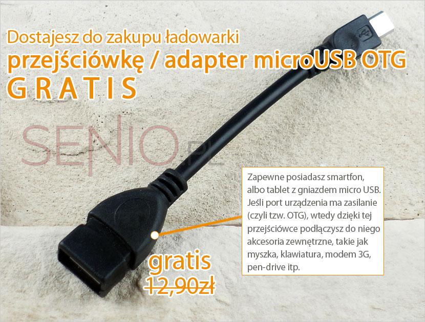 Przejściówka adapter na wejście micro USB w prezencie za zakup
