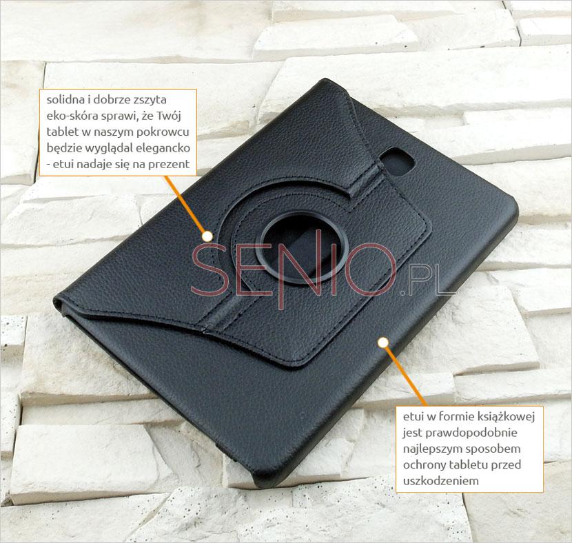 Elegancki i klasyczny pokrowiec z eko skóry dedykowany do tabletu Samsung Galaxy Tab A 8.0 (T350/T355/P350)