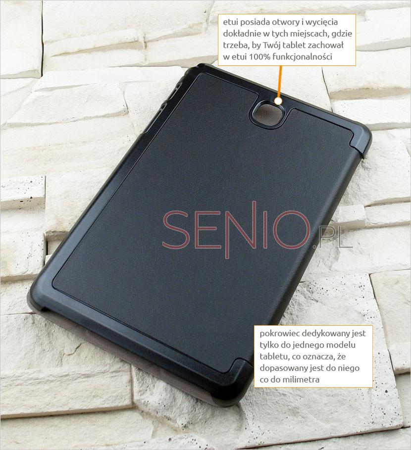Etui posiada otwory i wycięcia w futerale na tablet Samsung Galaxy Tab A 8.0 (T350)