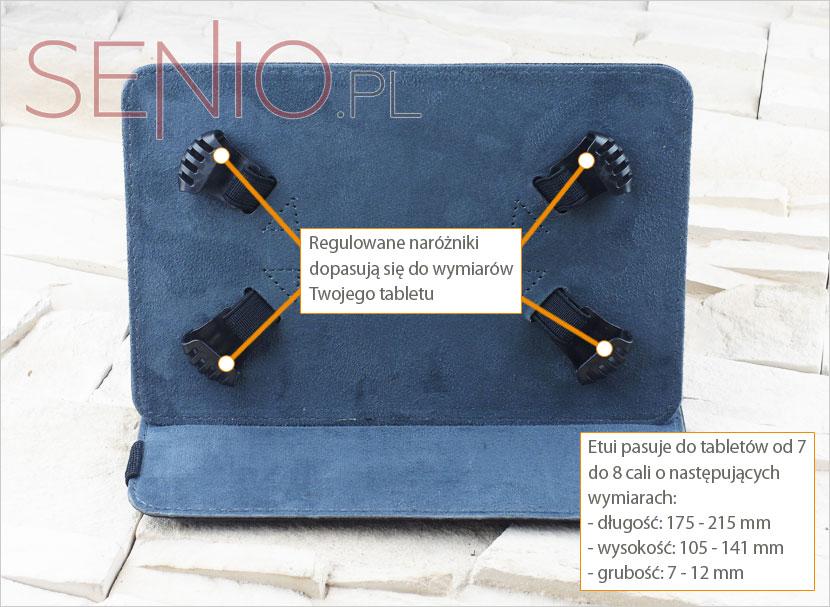 Etui posiada stabilnie trzymające się nużki dopasowane do ramiarzu tabletu
