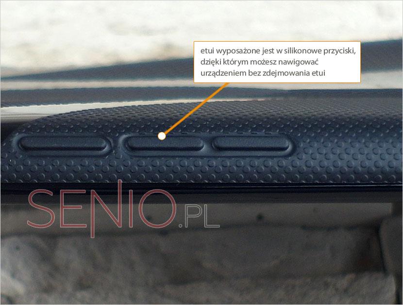 Pokrowiec posiada silikonowe przyciski do nawigacji urządzeniem Nexus 7