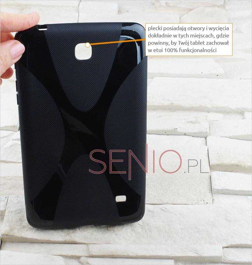 Wycięte i wyprofilowane otwory w etui silikonowym do tablet u Samsung Galaxy Tab 4 7.0 (T230 / T235)