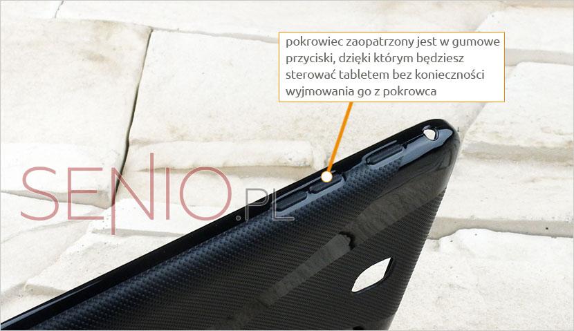 Gumowe przyciski w pokrowcu zapewniające swobodne korzystanie z tablet u Samsung Galaxy Tab 4 7.0 (T230 / T235)
