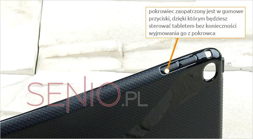 Silkonowy pokrowiec zaopatrzonyniezbędne klawisze do sterowania tabletem