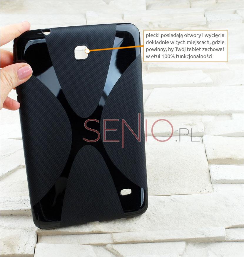 Wyprofilowane miejsca na gniazda i aparat w tablecie Samsung Galaxy Tab 4 8.0 (T330 / T335)