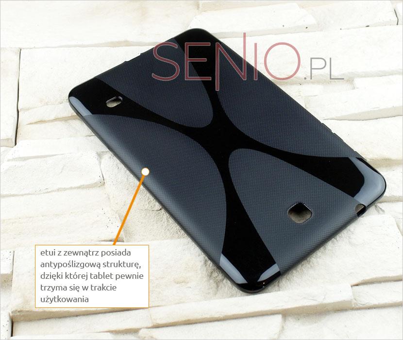 Silikonowe eleganckie czarne plecki do tabletu Samsung Galaxy Tab 4 8.0 (T330 / T335)