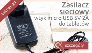 Zasilacz sieciowy - wtyk micro UBS na 5V 2A do tabletu